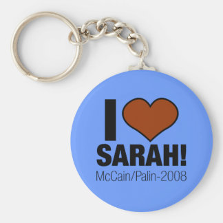 I LOVE SARAH PALIN BASIC ROUND BUTTON KEYCHAIN
