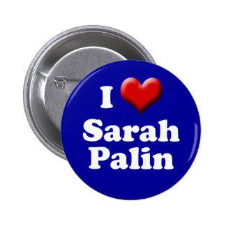 I love Sarah Palin Button (Red Heart Palin Button)