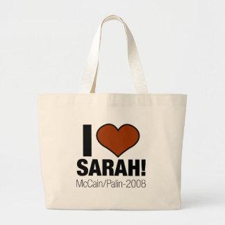 I LOVE SARAH PALIN LARGE TOTE BAG