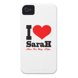 I Love Sarah. She Is My Life iPhone 4 Case-Mate Cases