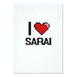 I Love Sarai Digital Retro Design 3.5x5 Paper Invitation Card