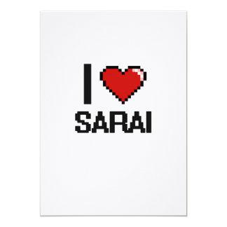 I Love Sarai Digital Retro Design 5x7 Paper Invitation Card