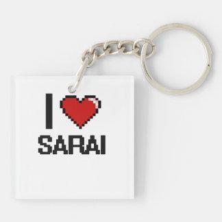 I Love Sarai Digital Retro Design Double-Sided Square Acrylic Keychain