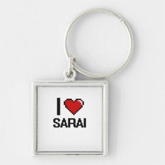 I Love Sarai Digital Retro Design Silver-Colored Square Keychain