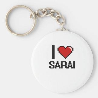 I Love Sarai Digital Retro Design Basic Round Button Keychain