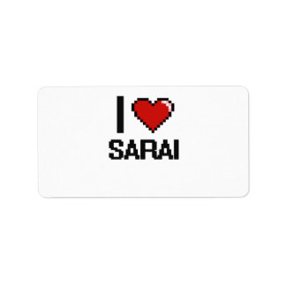 I Love Sarai Digital Retro Design Address Label