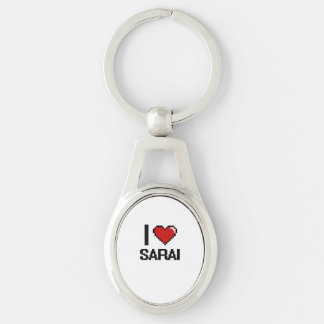 I Love Sarai Digital Retro Design Silver-Colored Oval Metal Keychain