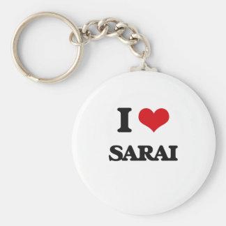 I Love Sarai Basic Round Button Keychain