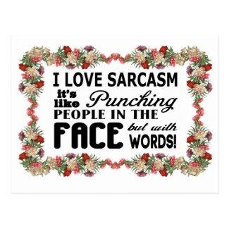 I love sarcasm postcard