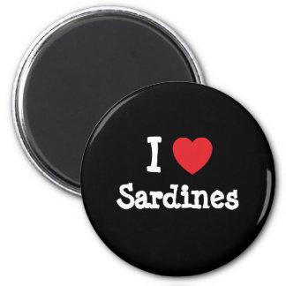 I love Sardines heart T-Shirt 2 Inch Round Magnet