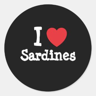 I love Sardines heart T-Shirt Classic Round Sticker