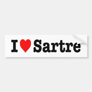 """I LOVE SARTRE"" BUMPER STICKER"