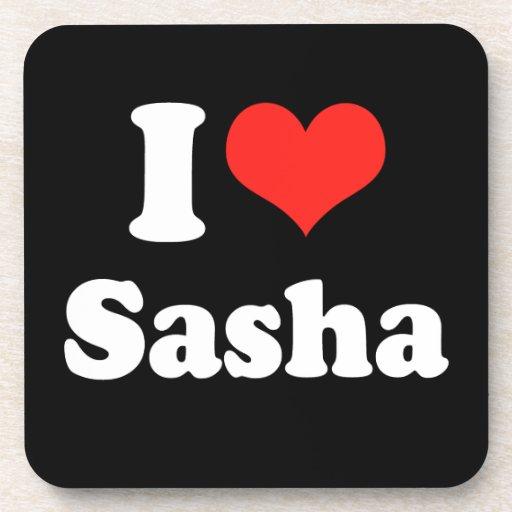 I LOVE SASHA.png Drink Coaster