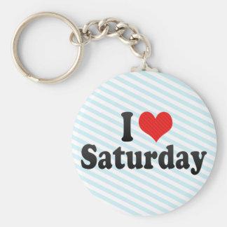I Love Saturday Basic Round Button Keychain