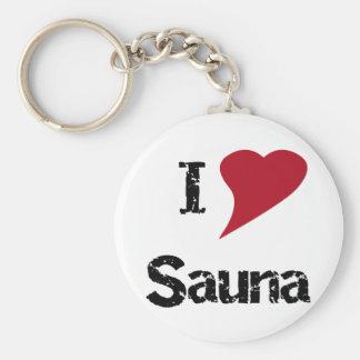 I Love Sauna Basic Round Button Keychain