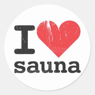 I Love Sauna Classic Round Sticker
