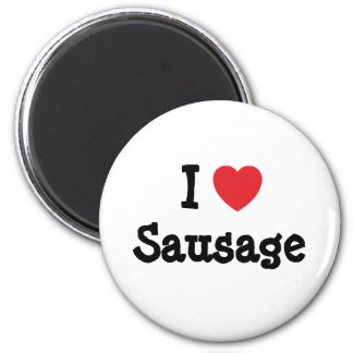 I love Sausage heart T-Shirt Refrigerator Magnets