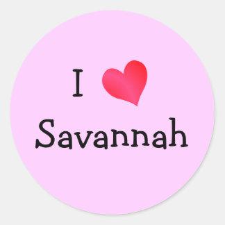 I Love Savannah Classic Round Sticker