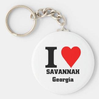 I love Savannah, Georgia Basic Round Button Keychain