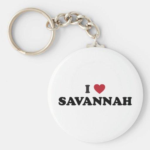 I Love Savannah Georgia Keychain