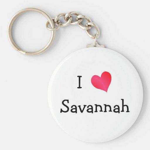 I Love Savannah Keychains