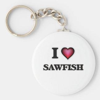 I Love Sawfish Basic Round Button Keychain
