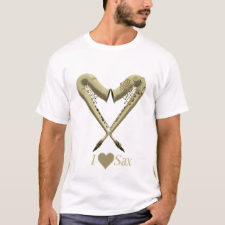 I Love Sax T Shirt, Gold On Light T-shirt at Zazzle