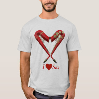I Love Sax T Shirt, Red On Ash T-shirt at Zazzle