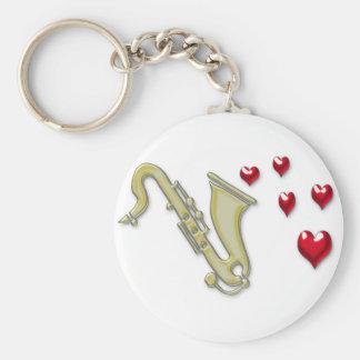 I Love Saxaphone Hearts Keychain