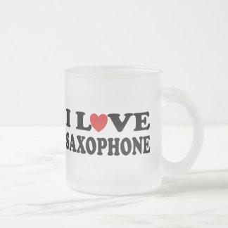 I Love Saxophone Frosted Glass Coffee Mug