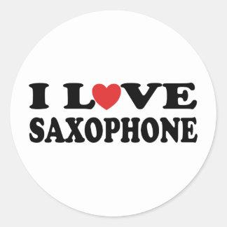 I Love Saxophone Round Sticker