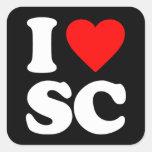 I LOVE SC SQUARE STICKER