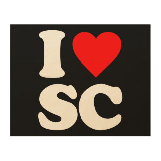 I LOVE SC WOOD CANVAS