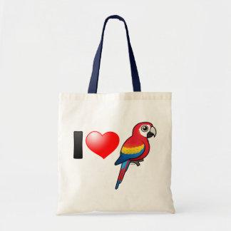 I Love Scarlet Macaws Tote Bag