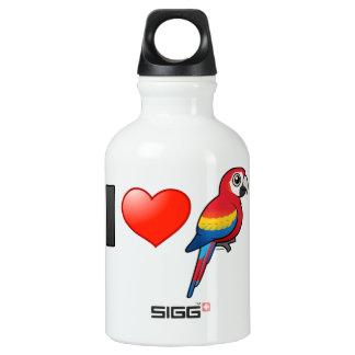 I Love Scarlet Macaws Water Bottle
