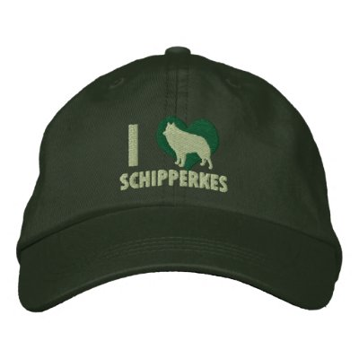 I Love Schipperkes Embroidered Hat (Forest Green)