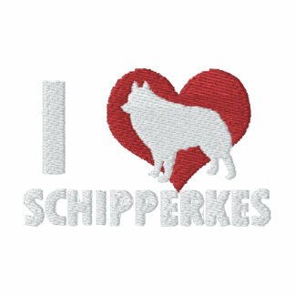 I Love Schipperkes Embroidered Shirt (Zip Hoodie)