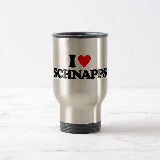 I LOVE SCHNAPPS 15 OZ STAINLESS STEEL TRAVEL MUG