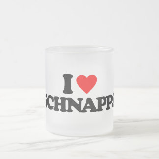 I LOVE SCHNAPPS 10 OZ FROSTED GLASS COFFEE MUG