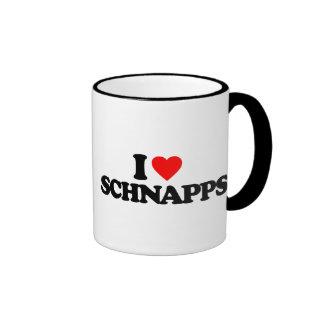 I LOVE SCHNAPPS RINGER COFFEE MUG