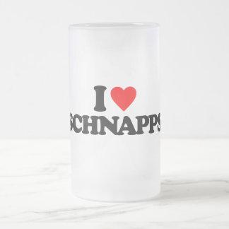 I LOVE SCHNAPPS 16 OZ FROSTED GLASS BEER MUG