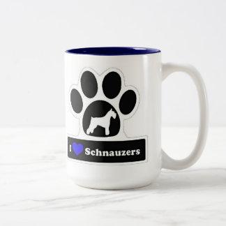 I love Schnauzers Two-Tone Coffee Mug