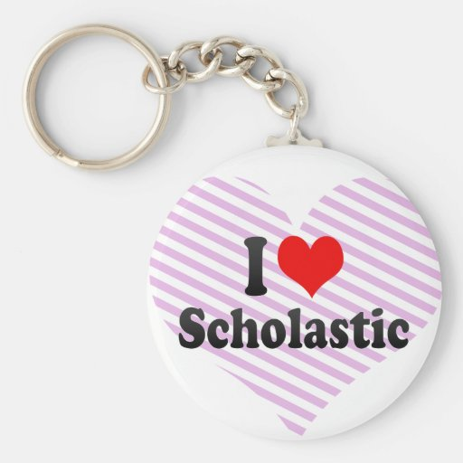I love Scholastic Basic Round Button Keychain