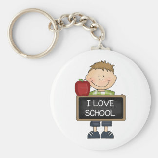I Love School Boy Student Basic Round Button Keychain
