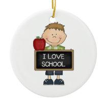 I Love School Boy Student Ceramic Ornament