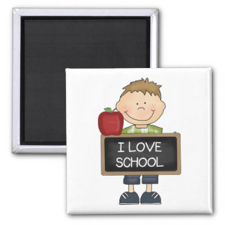 I Love School Boy Student 2 Inch Square Magnet