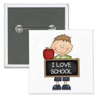 I Love School Boy Student Pinback Button