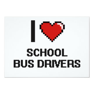 "I love School Bus Drivers 5"" X 7"" Invitation Card"