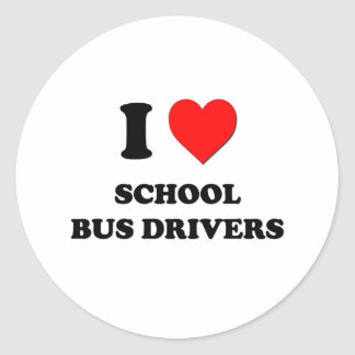 I Love School Bus Drivers Round Stickers