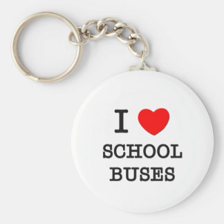 I Love School Buses Keychain